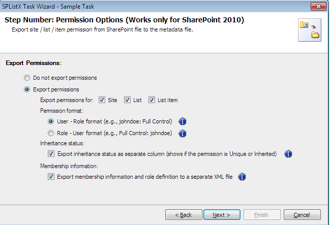 splistx task wizard permision options