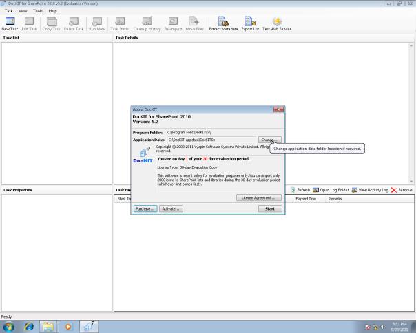Change application data folder