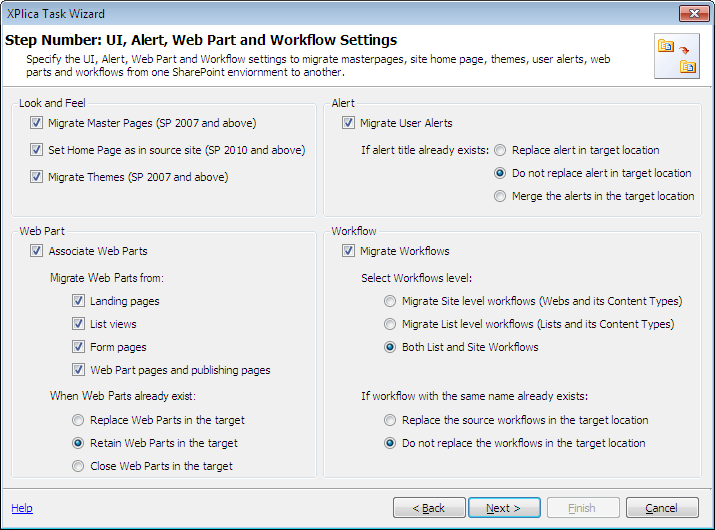 Web Part and Workflow Settings
