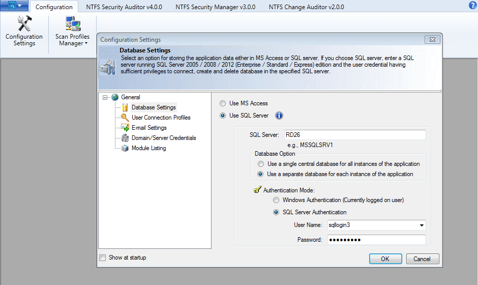 Store application data using SQL Server or MS Access