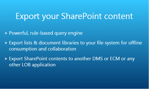 Export SharePoint Content