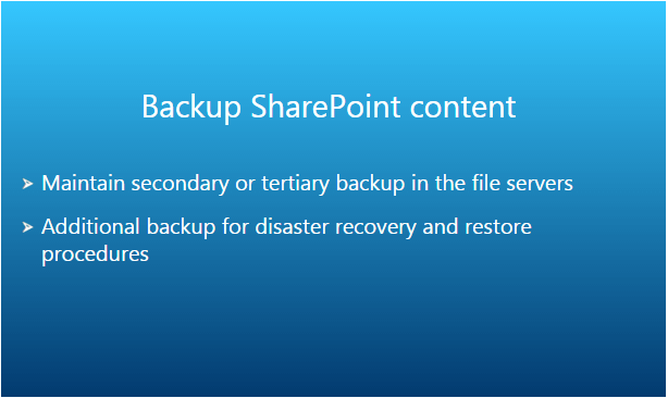 Backup SharePoint Content