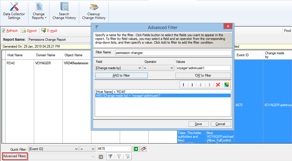 Filter NTFS reports based on complex & advanced filter conditions