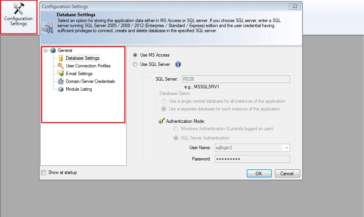 Configure your Domain Controller, SQL server & Email settings