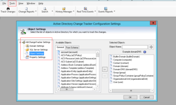 Configure Domain Controller, SQL server, Data collection and Email settings to Track AD changes
