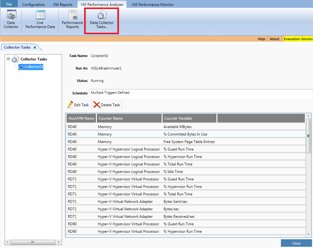 List of all configured data collector tasks with modify settings option