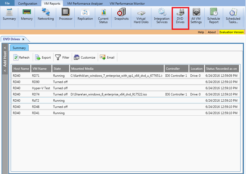 Shows virtual DVD drives information for each VM