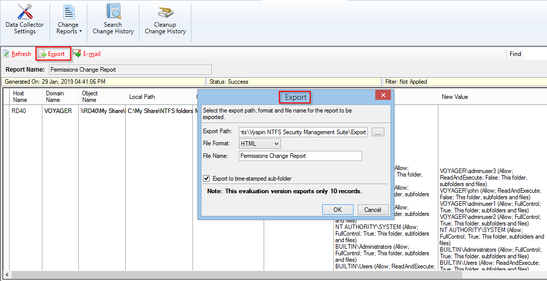Export NTFS Change reports as HTML/ CSV /XLSX file