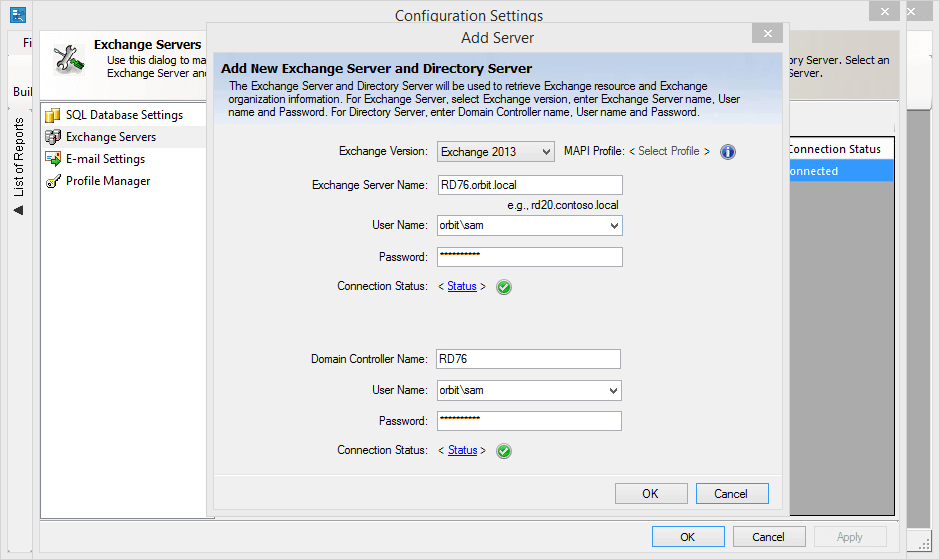 Connect to an Exchange Server and Directory Server in your enterprise network using the Configuration Settings