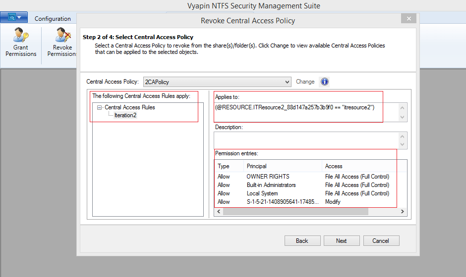 Remove Central Access Policy from multiple shares based on conditions