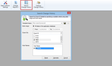 Search NTFS change history for the selected date range and host names