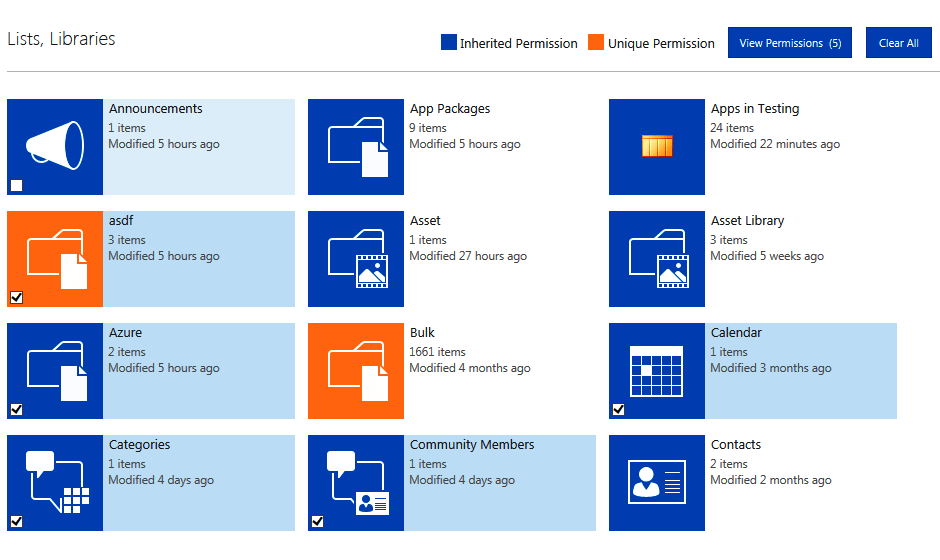 View Permissions granted in SharePoint lists, libraries