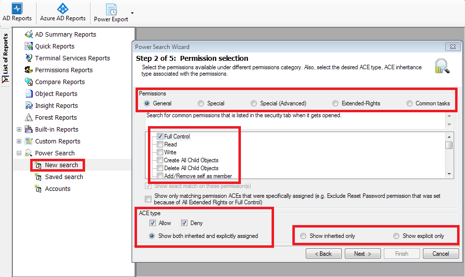 Search on security permission and Account attribute defined in the domain controller's schema