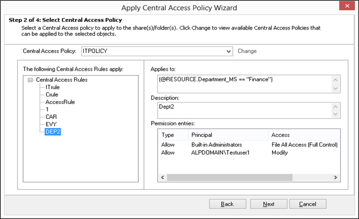 apply central access policy