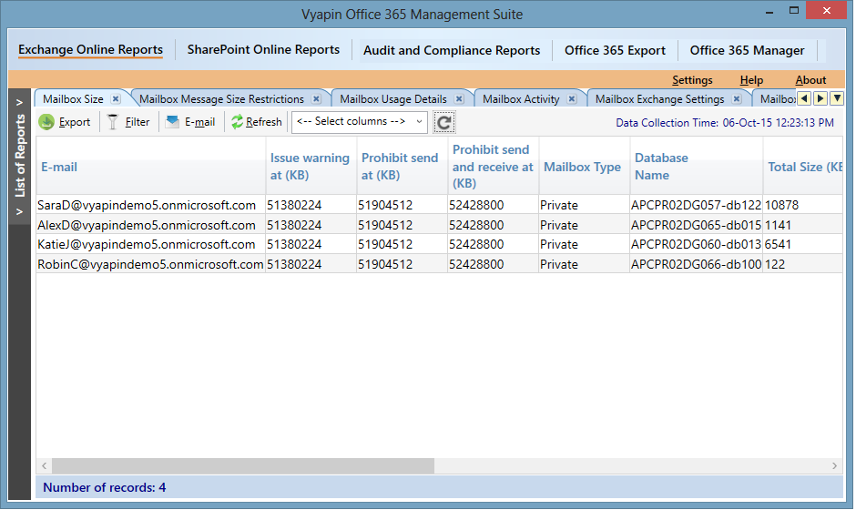 Office 365 Mailbox Size Reports | Office 365 Analytics | Vyapin