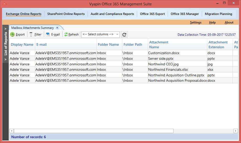 Office 365 Mailbox Attachments Report