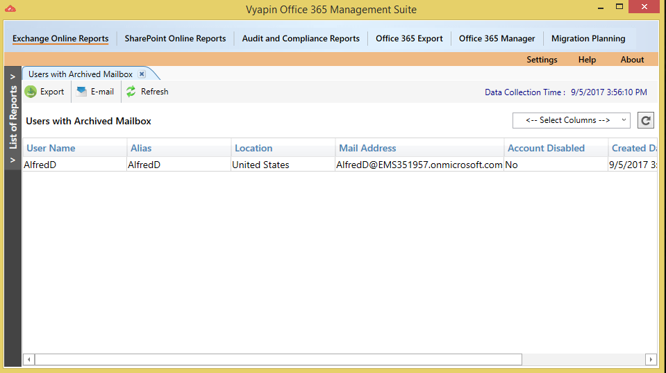 Office 365 Mailbox Usage Reports