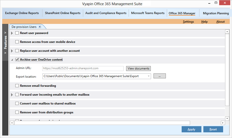 Archive OneDrive content of Office 365 user
