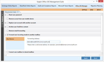 Forward incoming emails to another mailbox in Office 365