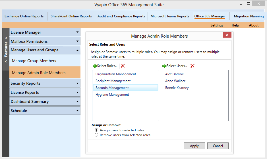 Assign or remove Office 365 users from their admin roles