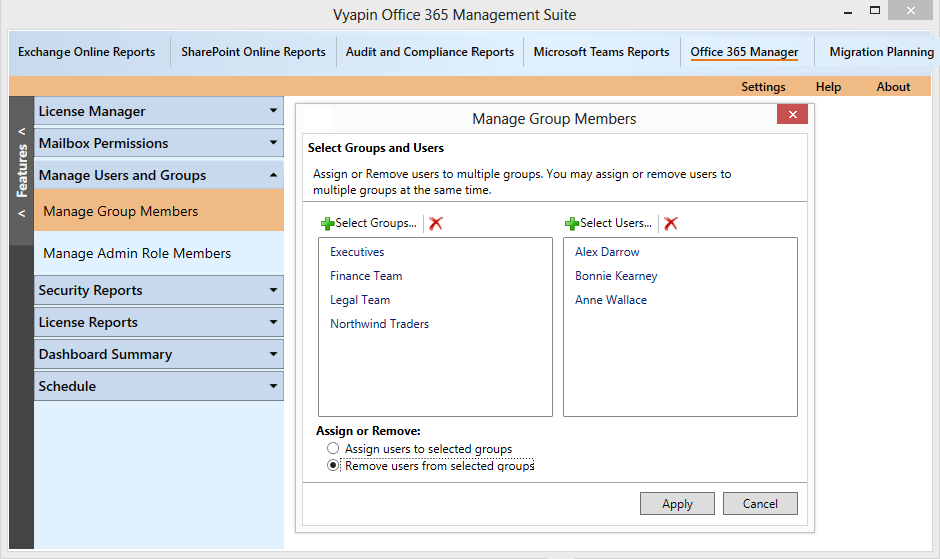 Assign / remove Office 365 users from selected groups.