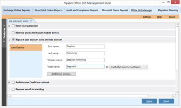 Replace Office 365 user account with another account